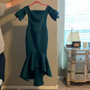 Green maternity cocktail dress.